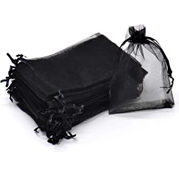 "Dealglad® 50pcs Drawstring Organza Jewelry Candy Pouch Christmas Wedding Party Favor Gift Bags (4x6"", Black)"