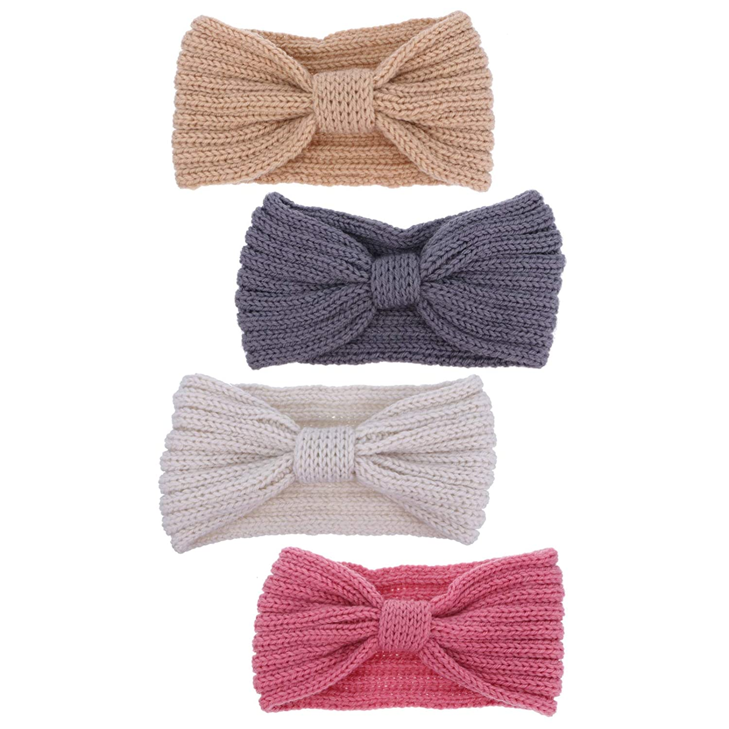 FRCOLOR 4pcs Knitted Headband Twist Bow Hairband Solid Color Wintter Crochet Ear Warmer Head Wraps for Women