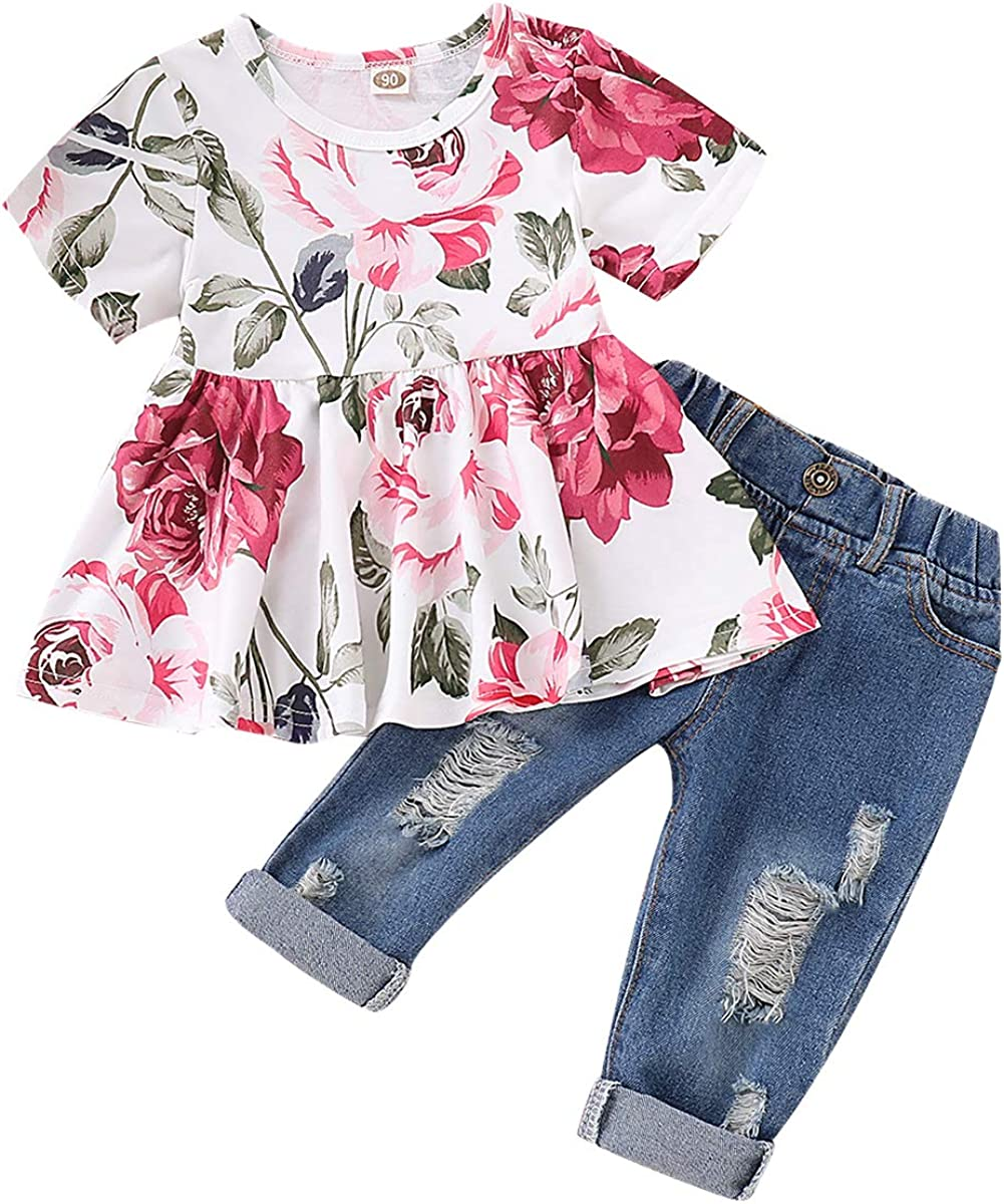 SANMIO Girl Clothes Outfits, Cute Toddler Baby Ruffle Sleeve Floral T-Shirt Tops with Ripped Jeans Pants Set