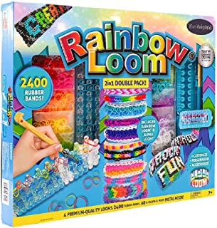 HGU Alpha & Rainbow Loom, 2-in-1 Double Pack, 2400 Rubber Bands, 4 Premium Looms, 98 C-Clips