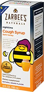 Zarbee's Naturals Children's Cough Syrup with Dark Honey Nighttime, Natural Grape Flavor, 4 Ounce Bottle