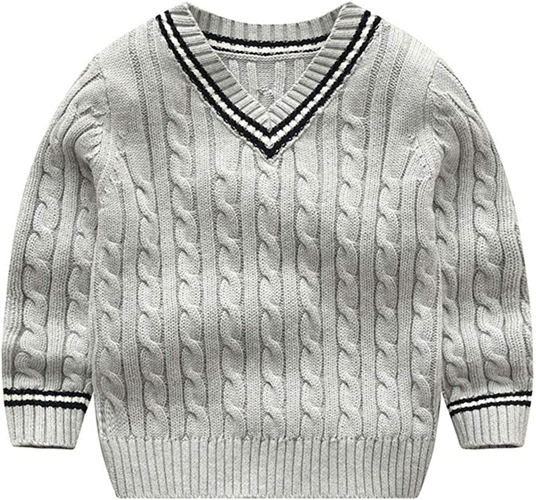 TOUSHIUHUS 2-6t Toddler Kid Baby Boy Sweater Autumn Winter Warm Clothes Knitted Pullover Top V Neck Long Sleeve Sweater