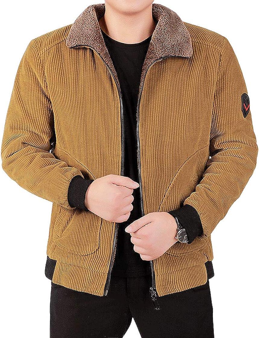 chouyatou Men's Winter Fur Collar Thicken Quilted Corduroy Trucker Bomber Jacket