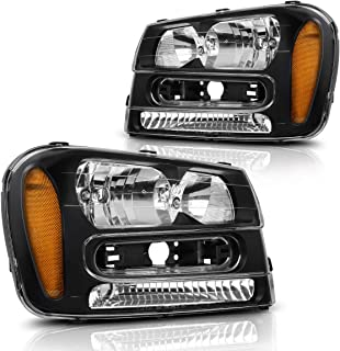 Headlights Assembly for 2002-2009 Chevy Chevrolet Trailblazer W/Full Width Grille Headlamp Replacement Amber Reflector(Except for 2006-2009 LT models, Pair)