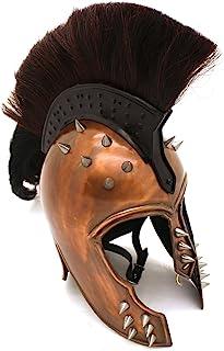 Medieval Warrior Brand 20G Steel Punk Trojan Helmet w/Ponytail & Leather Liner