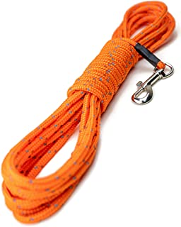 Mighty Paw Check Cord | Light Weight 30 Foot Dog Training Leash. Durable, Weather Resistant Climbers' Rope with Reflective Stitching. Perfect for Training, Swimming, Hunting, Camping. (Orange)