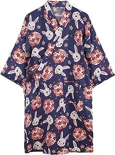 Women's Kimono Robe Cotton Dressing Gown Spa Robes Bathrobe Cardigan Nightwear Lady Sleepwear Loungewear Nightgown Pajamas