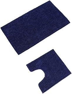 WohnDirect Tapis de Bain 2 pièces avec décolleté • antidérapant et Lavable en Machine • avec Encolure pour WC – Bleu FONCÉ
