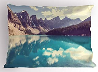 Landscape Pillow Sham, Moraine Lake in Banff National Park in Canada High Peaks and Trees Image, Decorative Standard Queen Size Printed Pillowcase, 30 X 20 inches, Aqua Tan White