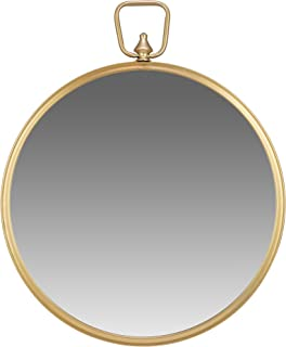 Gold Round Wall Mirror with Decorative Handle