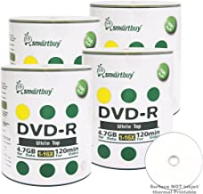 Smart Buy 400 Pack DVD-R 4.7gb 16x White Top Blank Data Video Movie Record Disc, 400 Disc 400pk