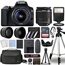 Canon EOS 250D / Rebel SL3 Digital SLR Camera Body w/Canon EF-S 18-55mm f/3.5-5.6 Lens 3 Lens DSLR Kit Bundled with Complete Accessory Bundle + 64GB + Flash + Case & More - International Model