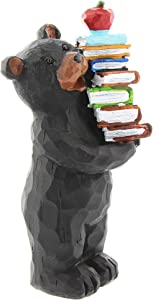 "Lipco Black Bear Teacher with Stack of Books Figurine, 5"""