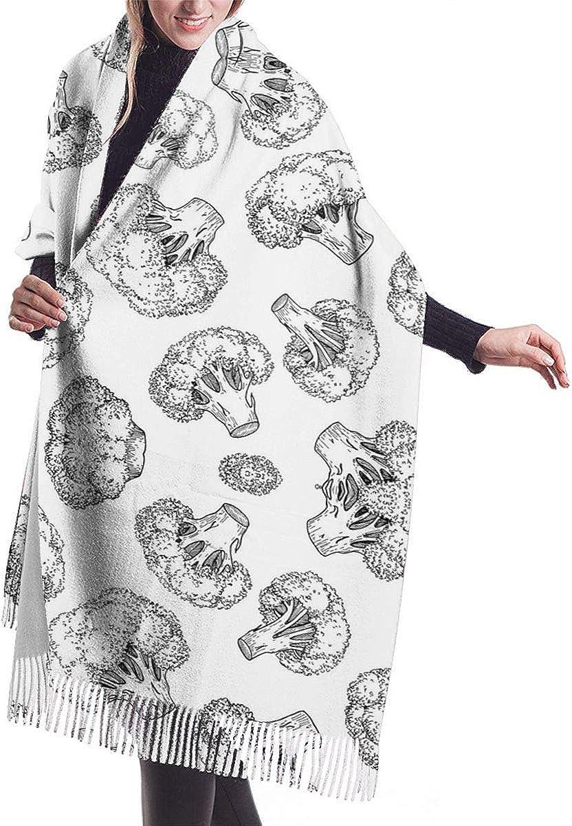 Broccoli Silhouette Pattern Winter Scarf Cashmere Scarves Stylish Shawl Wraps Blanket