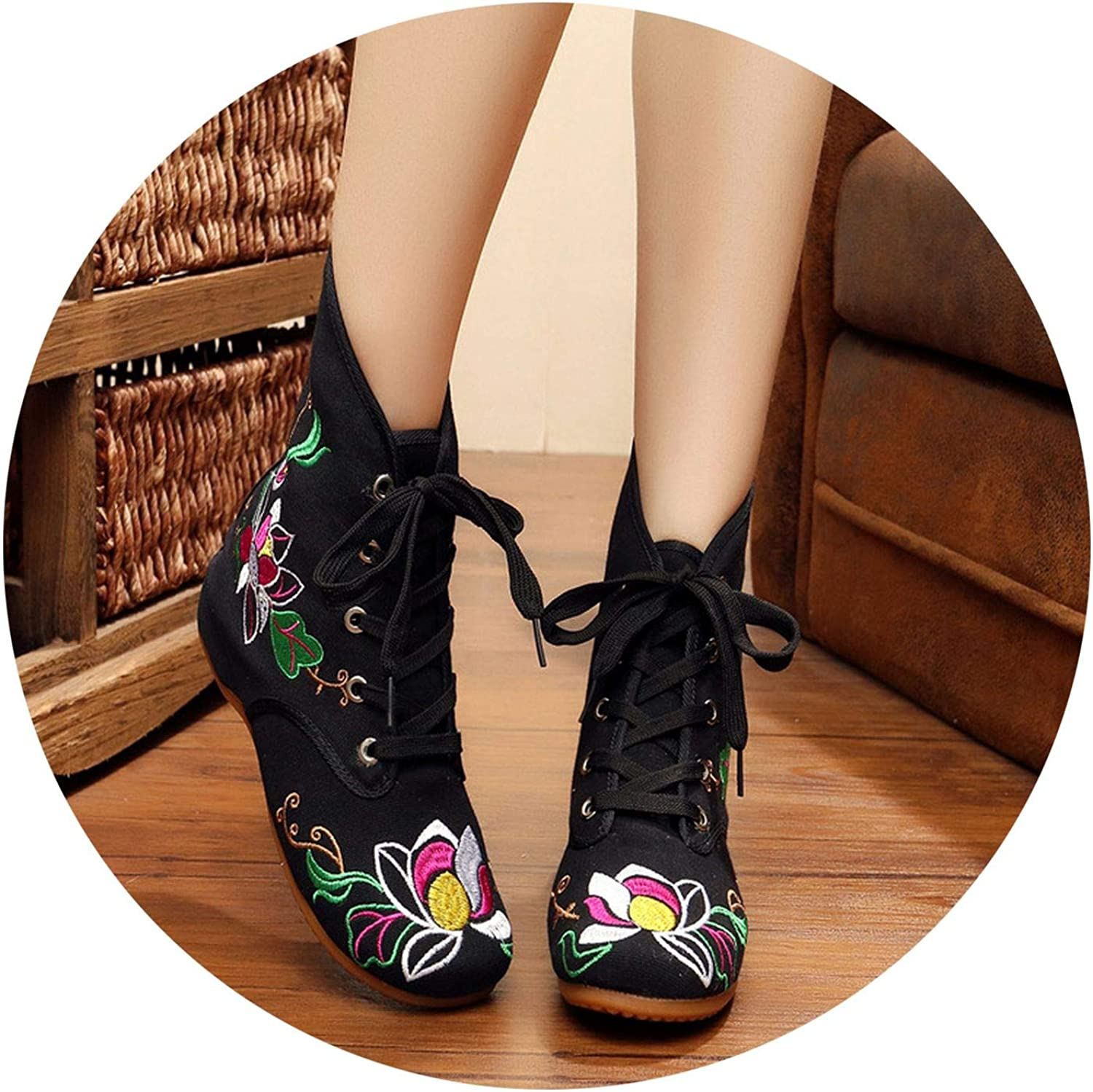 Superb Zone Spring Women shoes Embroidered Canvas shoes Increased Boots,Black,5