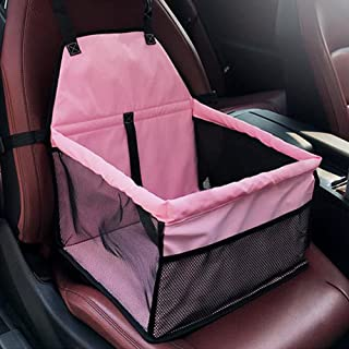 BUYITNOW Collapsible Pet Car Booster Thicken Waterproof Dogs Lookout Seat Carrier with Safety Belt for Cats Pup up to 30lb