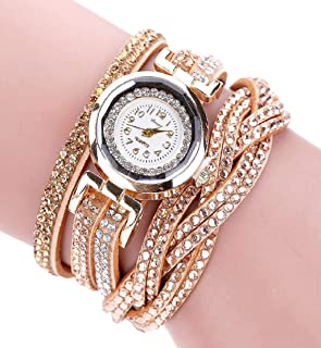 Clearance Sale!💗DEESEE(TM)💗 Brand Watches Women Luxury Crystal Women Gold Bracelet Quartz Wristwatch Rhinestone Clock Ladies Dress Gift Watches (Gold)