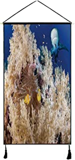 Sea Animal Decor Stylish Hanging Poster,Reef with Little Clown Fish and Sharks East Egyptian Red Sea Life Scenery for Living Room Bedroom,13