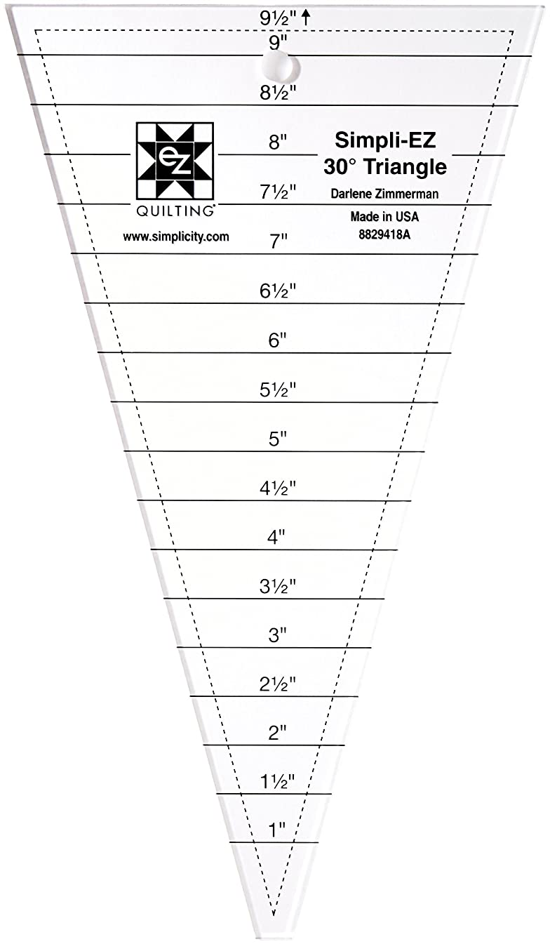 Simplicity 30 Degree Triangle Quilting Ruler and Quilting Template, 9.5