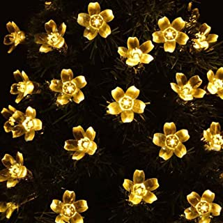 Flower Solar String Light, 50 LED Bulb Fairy Light For Wedding Party Xmas for Front Door, Yard, Garage, Party, Shopping Mall, Shop Window, Holiday, Home Decoration (5M, Beige)