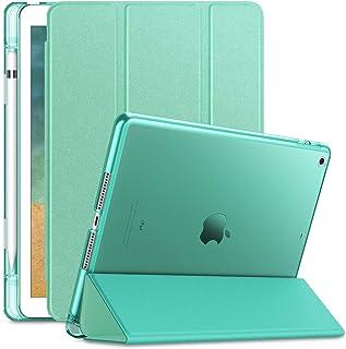 iPad 9.7ケース クリア Infiland iPad 9.7 2018 三つ折スタンドカバー キズ防止 Apple Pencil収納 軽量 薄型 オートスリープ機能 半透明カバー(モデル番号A1893、A1954) (iPad 9.7, ...