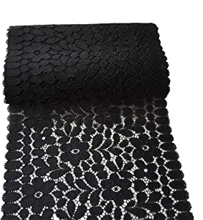 LaceRealm 7 Inches Wide Floral Stretchy Lace Elastic Trim Fabric for Garment & DIY Craft Supply- 5 Yard (5948 Black)