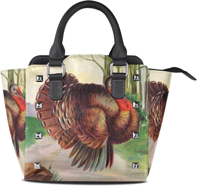 My Little Nest Women's Top Handle Satchel Handbag Thanksgiving Turkey Painting Ladies PU Leather Shoulder Bag Crossbody Bag