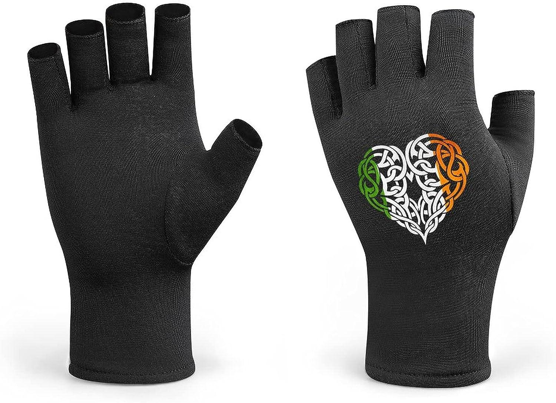 Irish Design Celtic Heart Irish Flag Men Cycling Gloves Half Finger Women Winter Knitted Fingerless Lightweight Workout Short Black Gloves for Bike Mountain Shooting Hunting