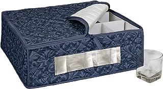 أكواب Homewear HUDSON DAMASK البحرية وزجاج الصخور لتخزين 12 زجاجًا، 39.67 سم × 34.29 سم × 13.97 سم
