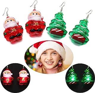 Aniwon Cute LED Christmas Earrings, 2PCS Fashion Christmas Tree Santa Claus Drop Earrings for Women Kids Girls Light Up Earrings Gifts Jewelry