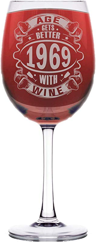 Shop4Ever 50th Birthday Gifts Age Gets Better With Wine 1969 Laser Engraved Stemmed Wine Glass 1969 16 5 Oz