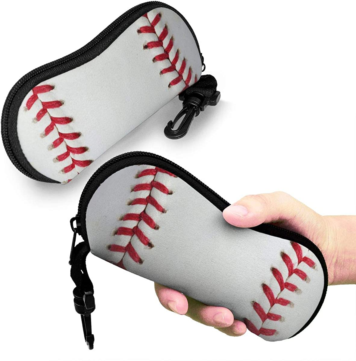 Baseball Print Sunglasses Soft Case Ultra Light Neoprene Zipper Eyeglass Case With Key Chain