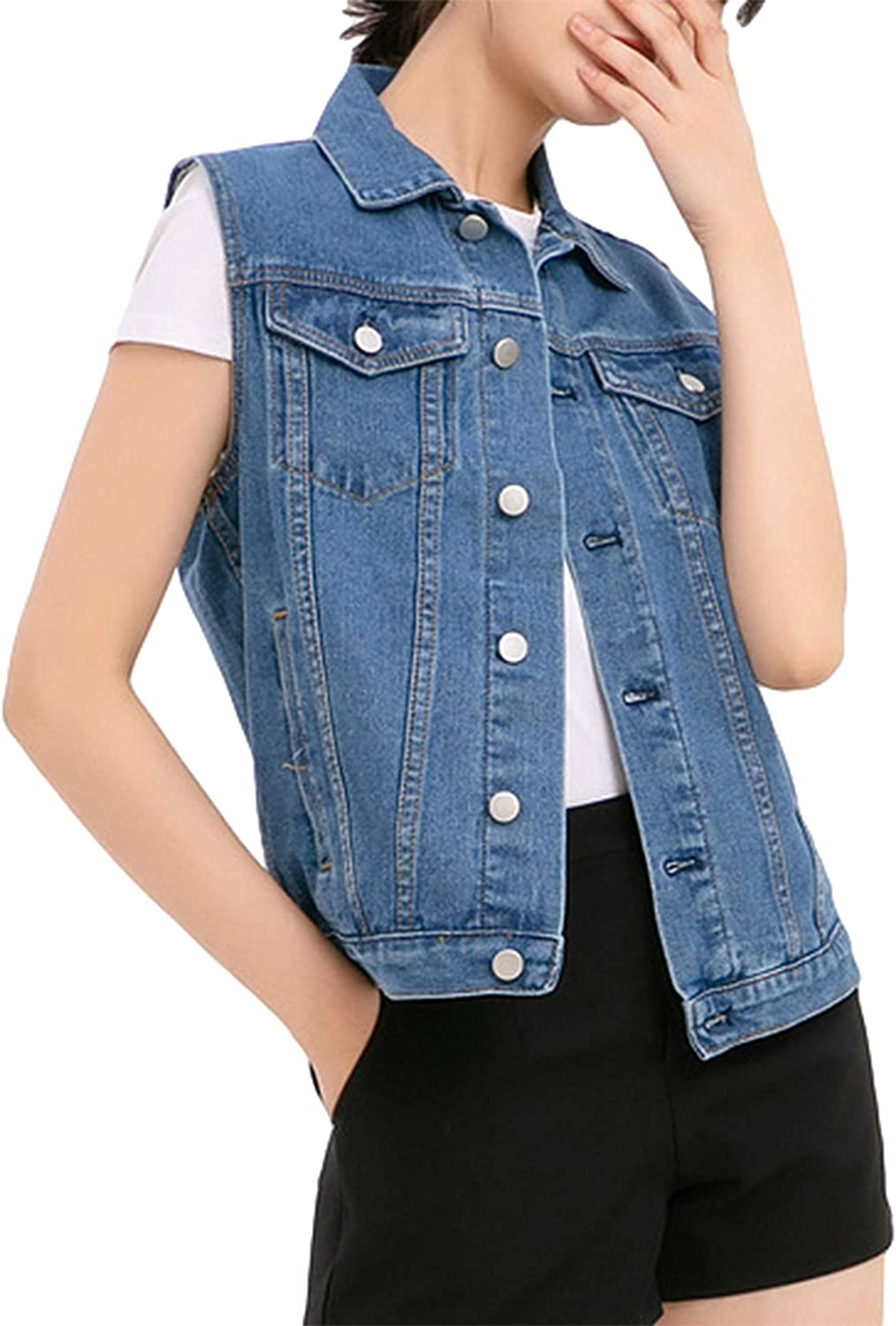 Himosyber Women's Casual Loose Button Washed Sleeveless Distressed Denim Vest Jacket