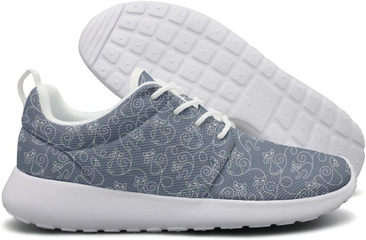 Hoohle Sports Cartoon Cats bluee Background Women Roshe One Flex Mesh Casual shoes for Men