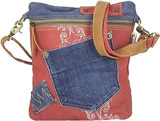 Sunsa Damen Tasche Umhängetasche Handtasche klein Canvas bag mit Jeans und Leder Vintage Design Teenager Taschen praktisch...