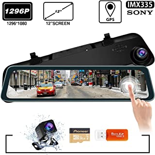 SILIVN Backup Camera Car Mirror Dash Cam,12'' IPS Full Touch Screen,Waterproof Rear View Mirror Camera,Streaming Media Camera, Night Vision,Parking Assistance,32G TF Card Included,