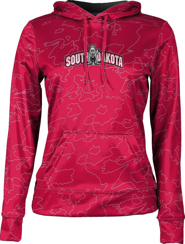 University of South Dakota Girls' Pullover Hoodie, School Spirit Sweatshirt (Topography)