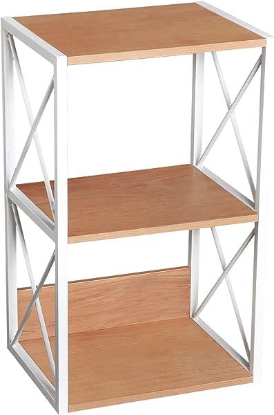 HOMCOM 3 Tier Freestanding Storage Shelf Utility Rack Wood Home Organizer Display Stand Living Room End Table Light Beech White