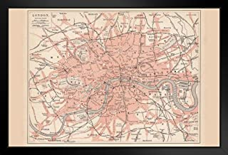 City of London 1877 Vintage Antique Style Map Black Wood Framed Art Poster 20x14