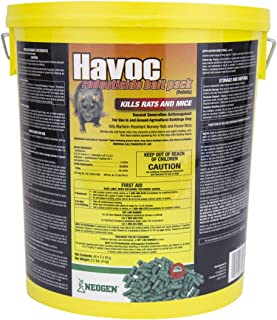 Neogen Havoc 116372 Rodenticide Bait Place Packs, Ready-To-Use Pallets For Control Of Norway Rats, Roof Rats and House Mice, 0.005% Brodifacoum, 40 x 2 x 50g