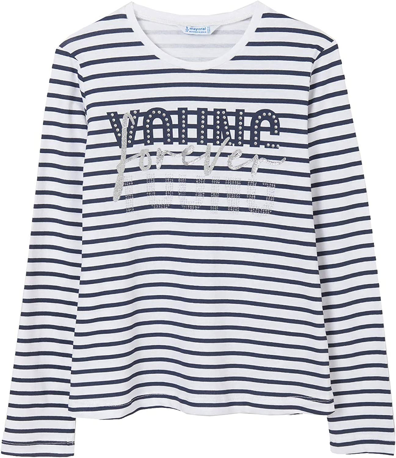 Mayoral - L/s Stripes t-Shirt for Girls - 6023, Navy