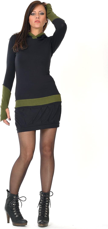 3Elfen Zauberhaftes Winterkleid mit Ballonrock und Kapuze mit farblich abgesetzten Fleece Details - Made in Berlin Schwarz Grün