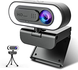 Webcam with Microphone Ring Light-HD 1080P Web Cam with Privacy Cover&Tripod for Desktop/Laptop/PC/MAC,Web Cameras for Com...