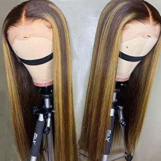 Straight Hair Lace Front Human Hair Wigs For Black Woman Brazilian Highlight Ombre Color Hair 13x4 Lace Front Wig Baby Hair,8inches