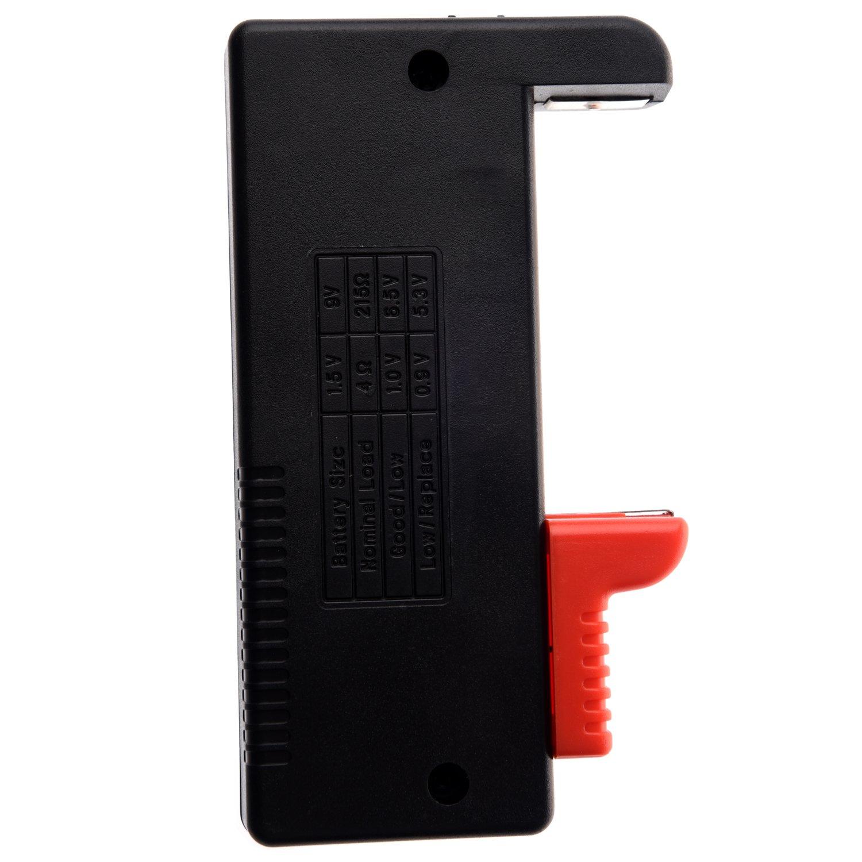 SODIAL Incluida una Cinta Azul R Comprobador de Bateria Universal para Baterias AA//AAA//C//D//9V//Pila de Boton Negro