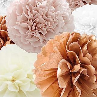 Tissue Paper Pompoms Paper Flower 22 Pcs Dusty Pink,Rose Gold,Ivory,White Paper Flower Ball for Birthday Bachelorette Wedd...