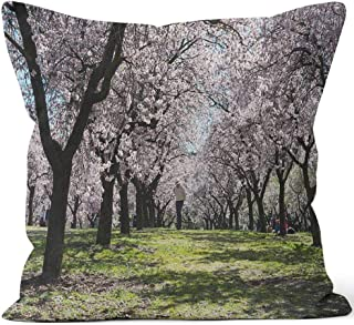 Nine City Almond Trees in Quinta de Los Molinos Park in Madrid Sack Burlap Pillow,HD Printing Square Pillow case,24
