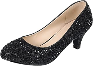 Women's Closed Round Toe Slip-On Glitter Crystal...