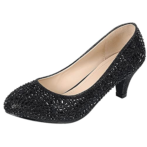 Black Glitter Dress Pumps Amazon