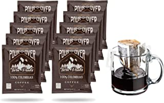Premium Single-Serve Pour Over Colombian Coffee Pouches | Portable Ground Coffee Drip Cups | Single Origin Colombian Fair-...
